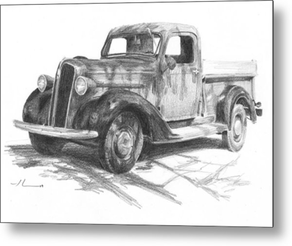 Classic Chevy Truck Pencil Portrait Metal Print by Mike Theuer