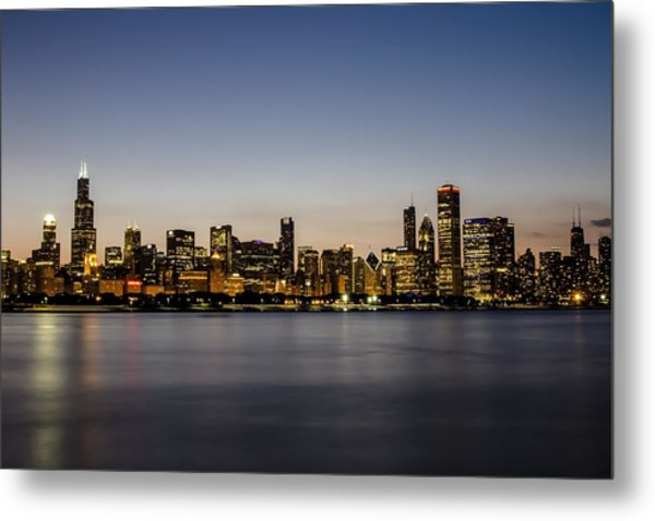 Classic Chicago Skyline At Dusk Metal Print