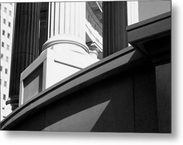 Classical Architectural Columns Black White Metal Print