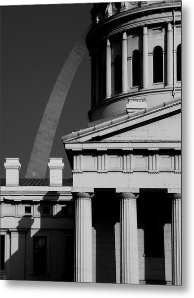 Classical Courthouse Arch Black White Metal Print