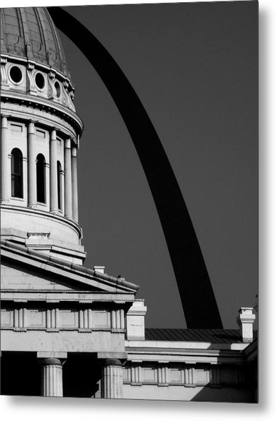 Classical Dome Arch Silhouette Black White Metal Print