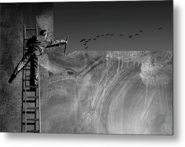 Cleaning The Sky Metal Print