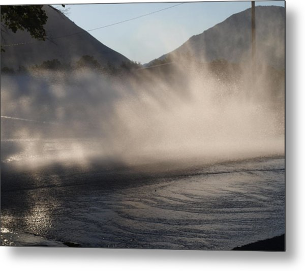 Cleaning The Street Metal Print by Kay Port