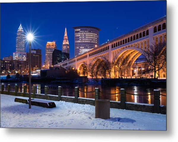 Clear Sky Cleveland Winter Metal Print