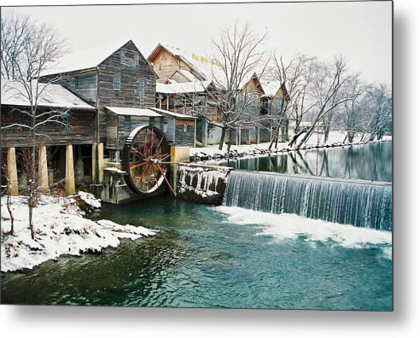 Clear Winter Day At The Old Mill Metal Print by John Saunders