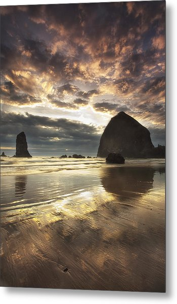 Clearing Skies At Cannon Beach Metal Print by Andrew Soundarajan