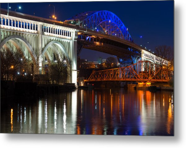 Cleveland Bridge Reflections Metal Print