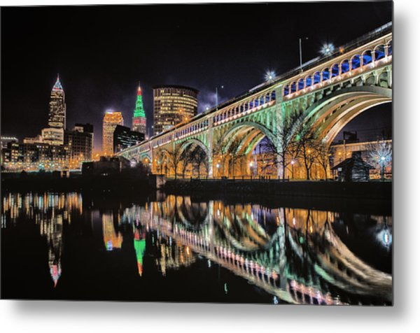 Cleveland Christmas Bridge Metal Print