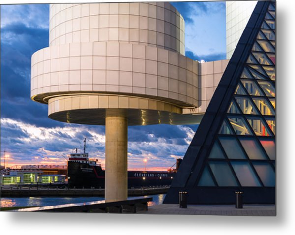 Cleveland Cliffs Barge And Rock Hall Metal Print