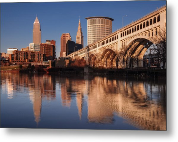 Cleveland From The River Golden Hour Metal Print