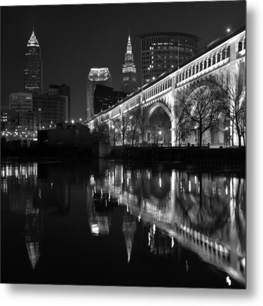 Cleveland Reflections In Black And White Metal Print