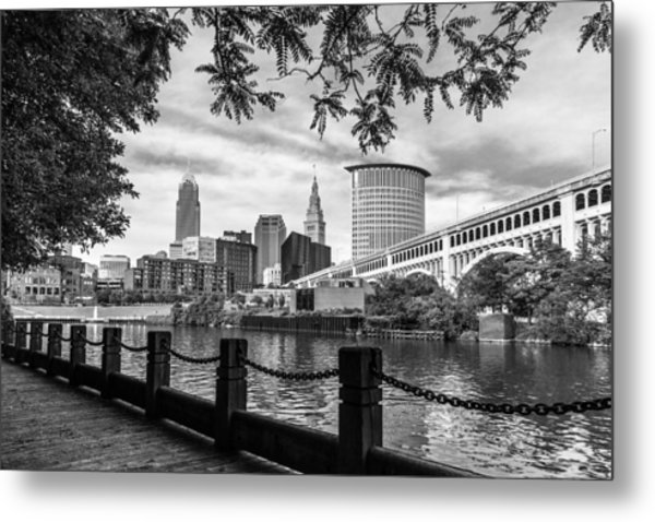 Cleveland River Cityscape Metal Print