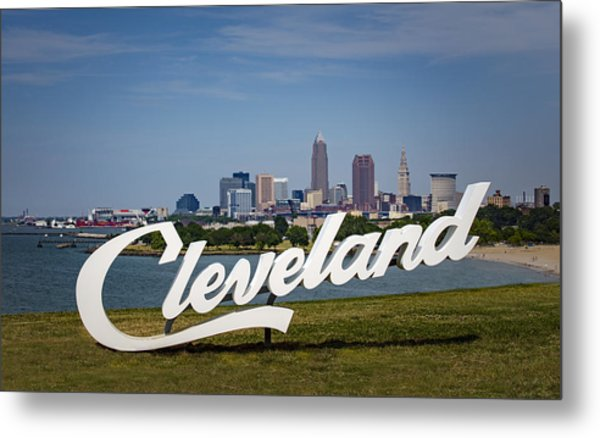 Cleveland Sign And Skyline Metal Print by Photo by Mike Kline (notkalvin)