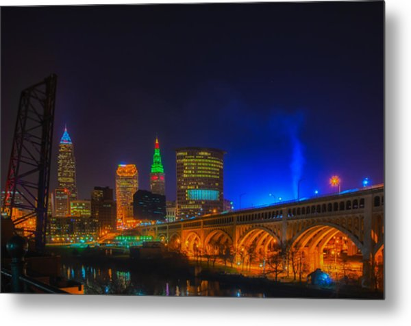 Cleveland Skyline At Christmas Metal Print
