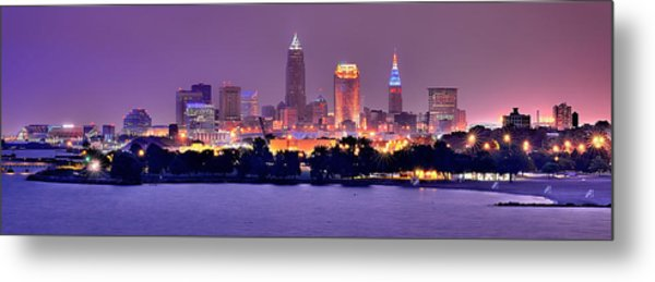 Cleveland Skyline At Night Evening Panorama Metal Print