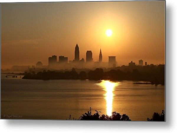 Cleveland Skyline At Sunrise Metal Print