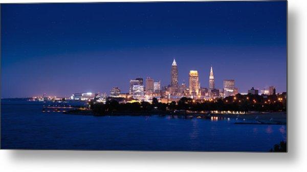 Cleveland Skyline Dusk Metal Print