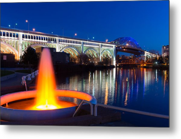 Cleveland Veterans Bridge Fountain Metal Print