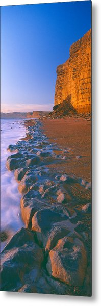 Cliff On The Beach, Burton Bradstock Metal Print
