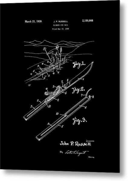 Climber For Skis 1939 Russell Patent Art Metal Print