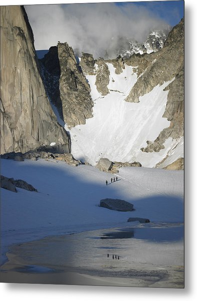 Climbers Enroute To The Bugaboo Snowpatch Col Metal Print