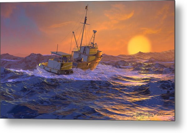 Climbing The Sea Metal Print