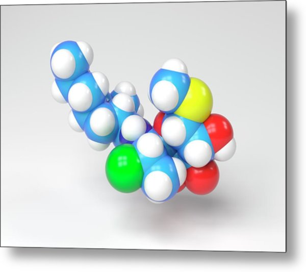 Clindamycin Antibiotic Molecule Metal Print by Indigo Molecular Images