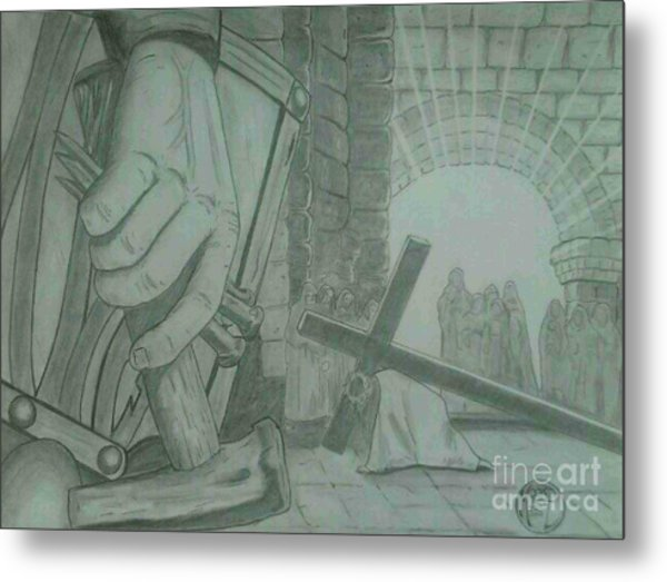 Clinging To The Cross Metal Print