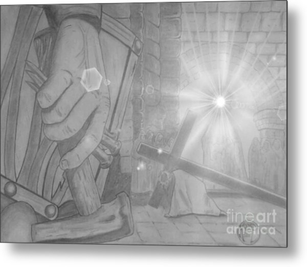 Clinging To The Cross Lights Metal Print