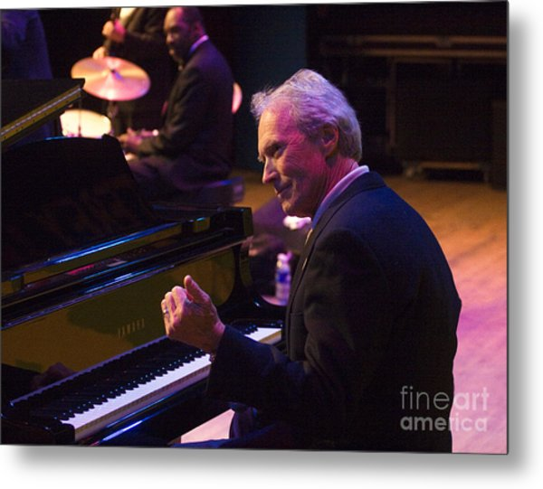 Clint Eastwood On Piano In Monterey Metal Print