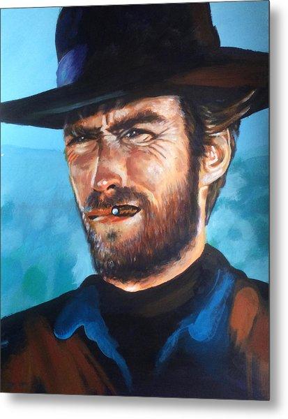 Clint Eastwood Portrait Metal Print by Robert Korhonen