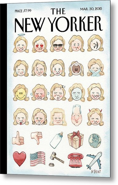 Clinton's Emoji Metal Print by Barry Blitt