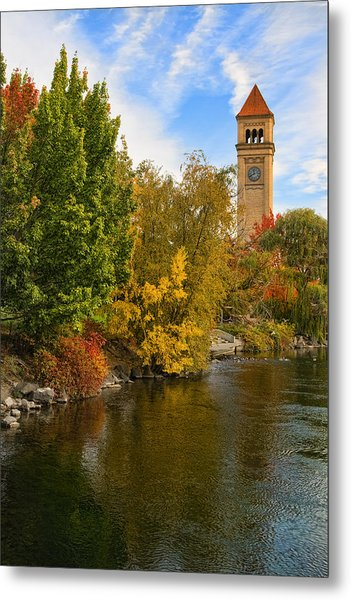 Clocktower In Fall Metal Print