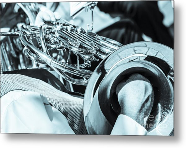 Close Of Male Playing French Horn And Hand Muting Metal Print