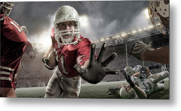 Close Up American Football Action Metal Print by Peepo