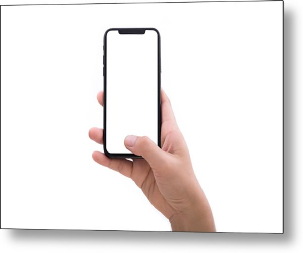 Close Up Hand Hold Phone Isolated On White Metal Print by Issarawat Tattong