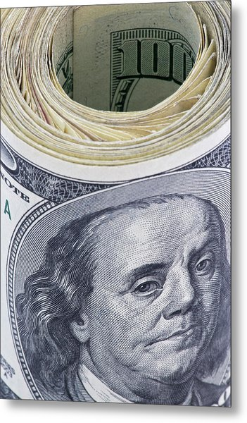 Close-up Of A Roll Of Us $100 Bills Metal Print by Jaynes Gallery