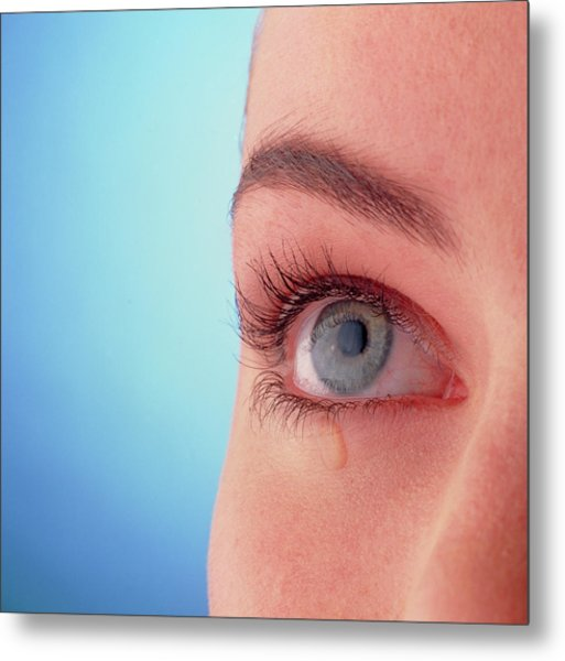 Close-up Of A Woman's Blue Eye With A Tear-drop Metal Print by Phil Jude/science Photo Library