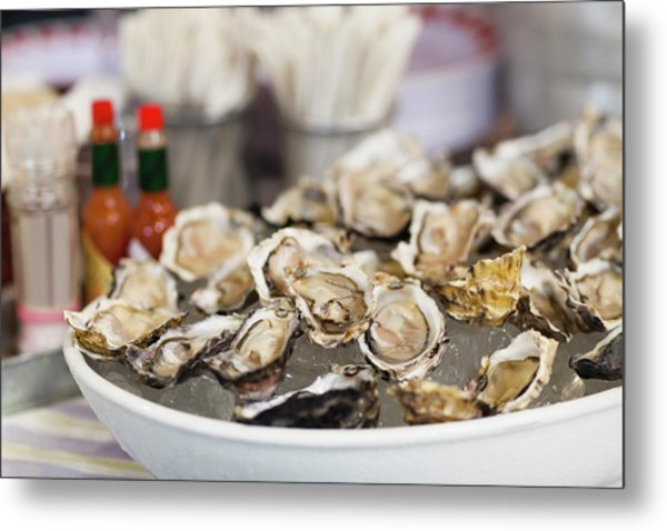 Close Up Of Bowl Of Oysters Metal Print