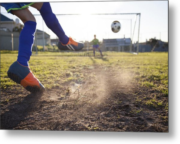 Close Up Of Boy Taking Soccer Penalty Metal Print by Alistair Berg