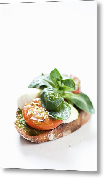 Close Up Of Bread With Cheese And Tomato Metal Print by Henn Photography