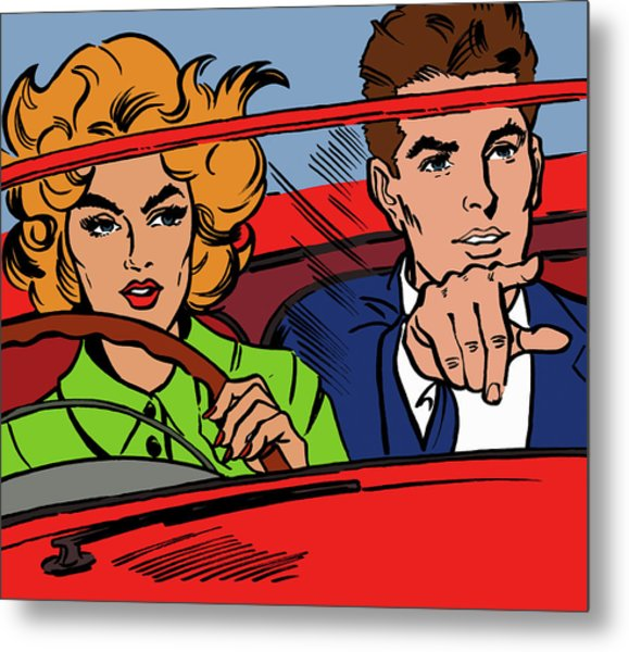 Close Up Of Couple Driving Red Metal Print