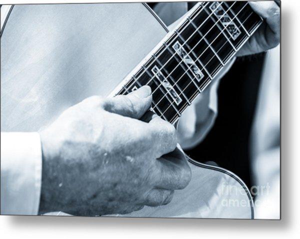Close Up Of Guitarist Hand Strumming Metal Print
