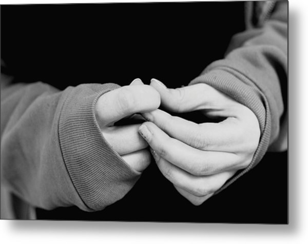 Close-up Of Hands Of Woman Metal Print by Terry Mcclendon / EyeEm