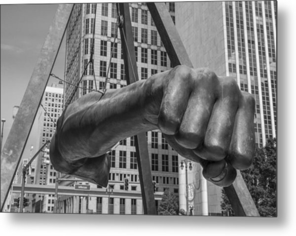 Close Up Of Joe Louis Fist Black And White  Metal Print