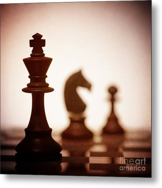 Close Up Of King Chess Piece Metal Print