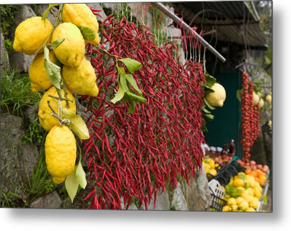 Close-up Of Lemons And Chili Peppers Metal Print