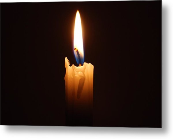 Close-up Of Lit Candle In Dark Room Metal Print by Lau Vzquez / EyeEm