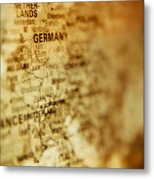 Close-up Of Map Of Western Europe Metal Print by Ryan McVay