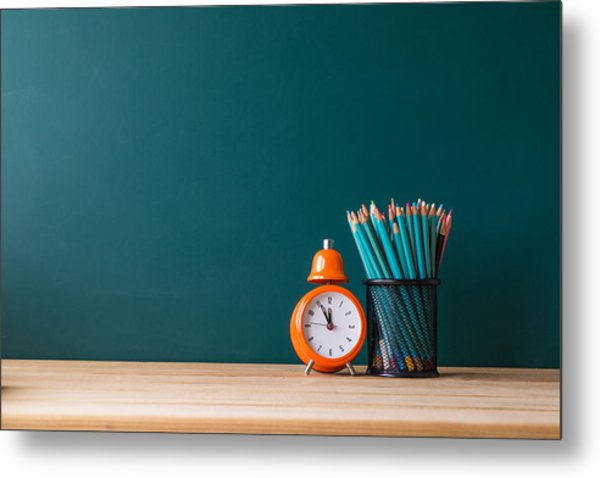 Close-up Of Pencils In Container By Alarm Clock On Table Metal Print by Shih Wei Wang / EyeEm